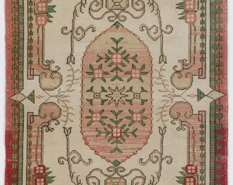 4x7.1 Ft ELEGANT Art Deco Turkish Rug. Decorative old handmade carpet.  Ideal for both home and office decor. Y103
