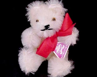 Sweet Little Tiny German White Mohair Teddy Bear by Clemens Spieltiere