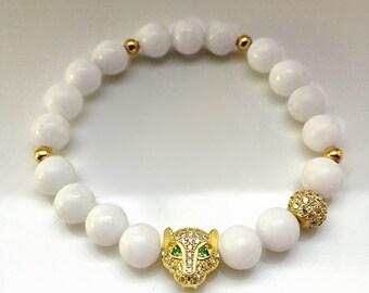 Gold Leopard Charm with Green Eyes white jade bracelet gemstone bracelet white leopard beaded bracelet wedding white bracelet pave gold bead