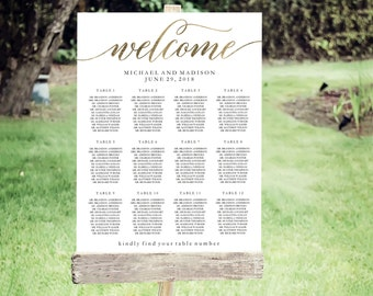 Wedding Seating Chart Template | Editable PDF, Printable Seating Plan Poster, Seating Board | Calligraphy Lettering Gold | ED 5187