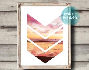 Chevron Photograph Modern Art Printable Beach & Sunset Printable Ocean Photography Coastal Decor Beach Printable Minimal Art Print Digital