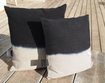 "Pillow natural linen ""Tie & Dye black"", ""Misses mustache"" Collection, 100% handmade"