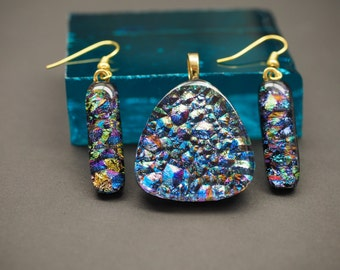Dichroic Pendant and Earring Set