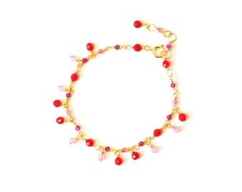 Red Berry, Gold Plated Bracelet, Pink, Cerise, Coral, Swarovski Crystals, Red, Jade, Swarovski Bracelet, Beaded Bracelet, Colorful Jewelry