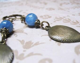 Blue Kyanite Earrings-Vintage Earrings-Blue Earrings-Dangle Earrings-Beaded Earrings-Gemstone Earrings-Romantic Earrings-Kyanite Earrings