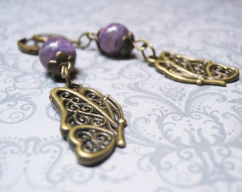 Charoite Earrings Vintage Earrings Dangle Earrings Purple Earrings Butterfly Charm Gemstone Earrings Beaded Jewelry Charoite Jewelry