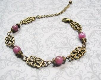 Ruby Bracelet-Vintage Bracelet-Beaded Bracelet-Gemstone Bracelet-Red Bracelet-Romantic Bracelet-Romantic Jewelry-Ruby Jewelry-Chain Bracelet