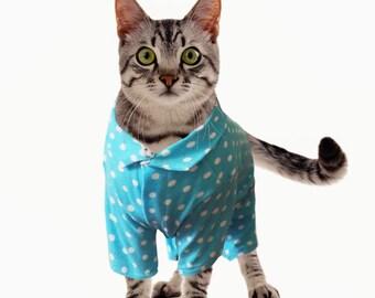 Custom Cat Pajamas Cat Clothes Cotton Lycra Pajamas for Cat in Multiple Sizes ( S, M, L)