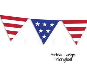 July 4th Garland - Extra Large Red, White and Blue Triangle Garland - Extra Large sizes