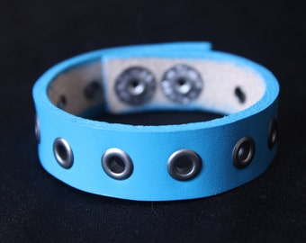 Turquoise Blue Leather Cuff Bracelet with Silver Rivets