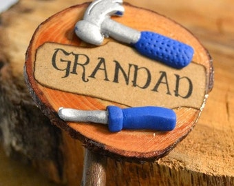 Memorial Plaque for Grandad, wooden handmade handwritten sign for the grave with tools for embellishment, suitable for outdoor use