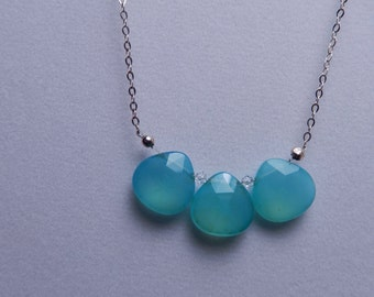 Three Stone Aqua Chalcedony Necklace