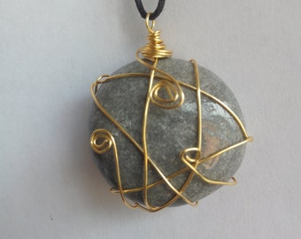 Gray Stone Necklace, Wire Wrapped golden, Women, Jewelry, Accessories