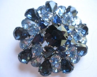 Beautiful Deep Blue Rhinestones Accented with Light Blue Rhinestones in Silvertone Setting