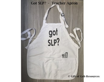 Got SLP? and Writing Tools 3 Pocket Apron - Speech Therapy Gift , SLP Gift, Cooking Gift,  Teacher Presents, Unisex Aprons, Chef Gift, Apron