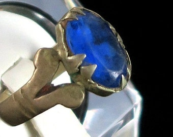 OLD KUCHI RING with Blue Stone - Vintage Tribal Jewelry