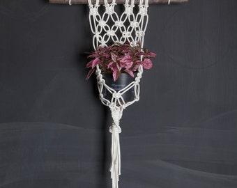 Portavaso in macram da parete con supporto in legno appendi - Portavaso da parete ...