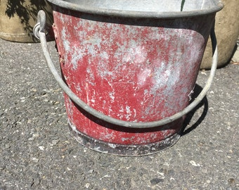 Vintage Bucket Galvanized Bucket Farm Bucket Metal Bucket