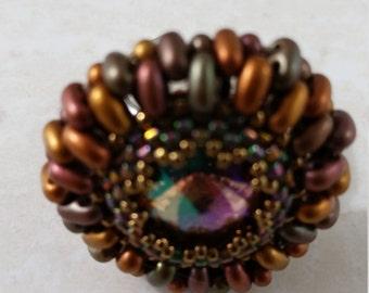 Handmade ring, glass beads ring, Swarovski crystal ring, fashion ring, flower ring, big ring