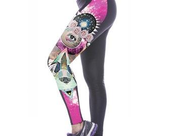 Digital Printed Third Eye Leggings, Festival Wear, Hippie Clothes, Meditation, Gypsy, Yoga pants, Boho Leggings, colorful Leggings