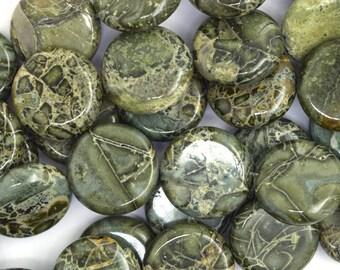 "14mm green variscite coin beads 16"" strand 36481"