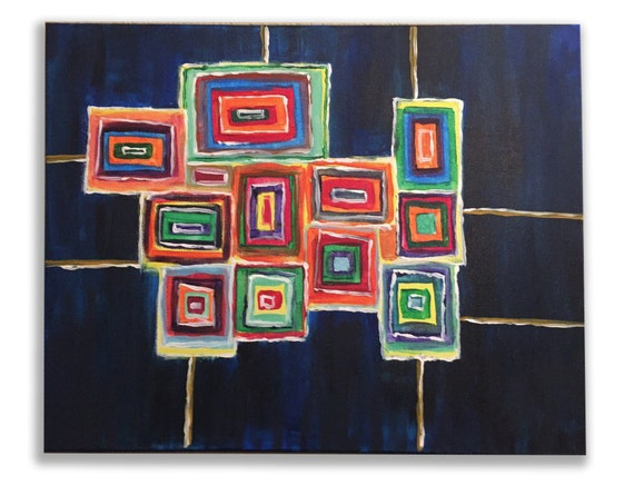 colorful dream, a rectangular handmade acrylic painting