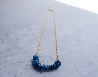 Blue Gemstone 14K gold plated chain necklace - SGN-004 | Faithis.one