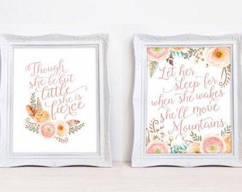 Boho Baby Girl Print Set- Baby Girl Nursery Floral Prints- Boho Nursery Wall Art- Blush Pink Wall Art- Prints for Little Girls Baby Shower