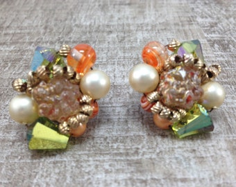 Gorgeous Signed Vintage  Vendome Faux Pearl AB Crystal Bead Earrings