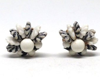 Vintage Estate Hong Kong Striped White Beads Cluster Clip On Earrings Christmas Present - Holiday Gift