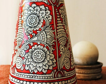 Lampshade , Vintage , Red and White Floral Lampshade ,  Leather Lampshade , Home Decor , Indian Shadow Puppetry , Interior Design