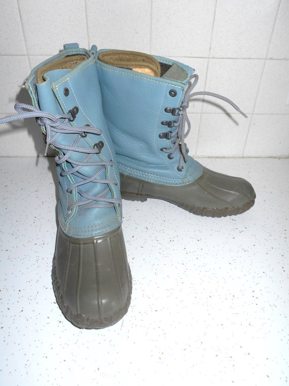 vintage lacrosse duck boots blue womens winter snow cold