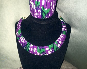 African fabric necklace; half moon shaped With bracelet