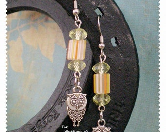Autumn Owl Dangle Earrings