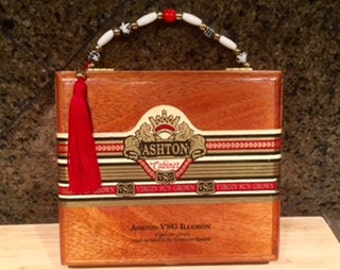Ashton Wood Cigar Box Purse w/Beaded Handle