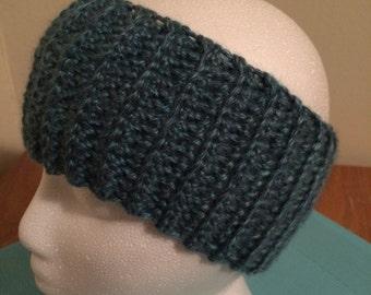 Crochet ear warmer, crochet headband - Denim Blue