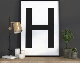 H Letter Print, Initial Wall Art, Scandinavian Art, Scandinavian Poster, Initial Poster H Letter Poster, H Letter Print, INSTANT DOWNLOAD