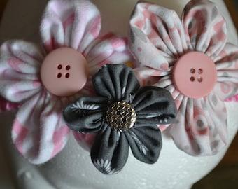 pink and grey flower headband