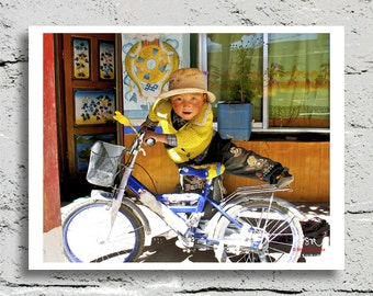 Tibet Photography, Young Boy on a Bicycle, Vibrant Multi-Color, Fine Art Print, Affordable Art, Home Decor