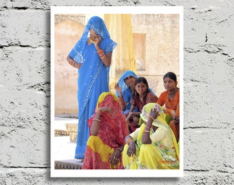 India Photography, Women in Saris, Jaipur, Vibrant Multi-Color, Fine Art Print, Affordable Art, Home Decor