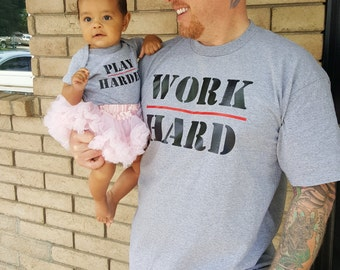Custom Onesie and T-shirt - Work Hard | Play Harder