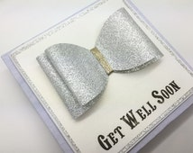 Luxury Handcrafted Get Well Soon Bow Card - Gift Boxed Get Well Soon Card - Handcrafted Get Well Card - Personalised Get Well Soon Card