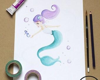 Purple Mermaid Kids Nursery Art Print, Children's Room Decor, Watercolor Print