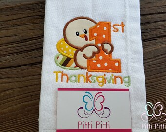 1st Thanksgiving  personalized  Short sleeve Bodysuit, Shirt, Bib or Burp Cloth  BOY -  First Thanksgiving - Baby Turkey