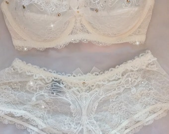 White Lace Bridal Swarovski Crystal Bra and Panties Set 34C