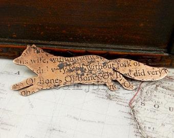 Copper fox brooch, fox brooch, fox jewellery, text jewellery, poetry jewellery, antique style, ancient style.