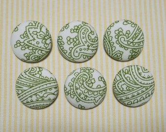 6 Light Green Pattern Fabric Covered Buttons - 30mm (Metal Shanks, Metal Flatbacks)
