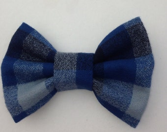 Plaid Hairbow-Blue and Gray Plaid Hairbow-Fall Hairbow-Hairbow-Rockabilly