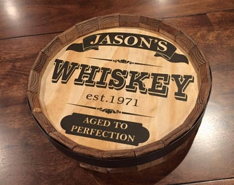 Whiskey Barrel Bar Sign Personalized