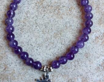 Amethyst OM Charm Yoga Bracelet